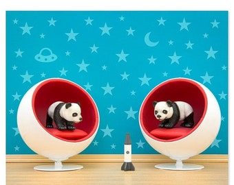 35% OFF SALE Mid century modern baby animal print: Space Pandas