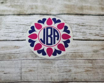 Monogram Flower Decal / Monogram sticker / yet cooler monogram decal / laptop decal / car decal /circle monogram