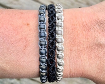 SALE Micro-Macrame Adjustable Bracelet Stack - Black and Gray Beaded Mix