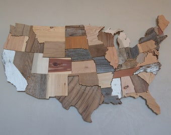 Reclaimed Wood USA Map Wall Art | Country Home Decor | Rustic Home Decor | Wood US Map Wall Art | United States of America | Susan Marie May