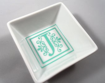 Monogram Ring Dish. Initial Jewelry Holder. Ring Holder. Monogram Jewelry Dish.