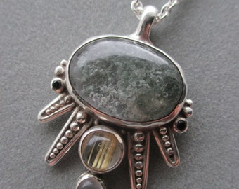 One of a Kind Sterling Silver Rutilated Quartz Statement Pendant #PDTOK09SS