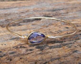 Gold Bangle Bracelet /Purple Amethyst Bracelet / Bridesmaid Gift / Bridesmaid Jewelry / Bridesmaid Bracelet / February Birthstone Bangle