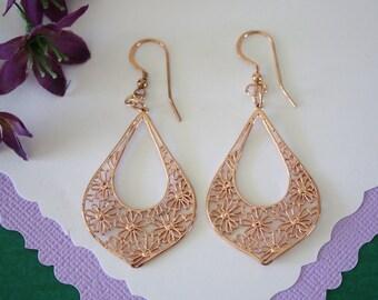 Rose Gold Flower Hoop Earrings, Gold, Rose Gold, Sterling Silver, Earrings, SIlver Earrings, Gold Earrings, Pink Gold, Dangle Earrings