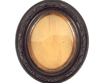 """Large 14.5"""" Antique Carved Wood Oval Frame with Scroll Design, 14.5"""" H x 12"""" W Ornate Wall Hanging Picture Frame"""