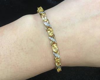Sterling Silver Crosslink Bracelet with Gemstones