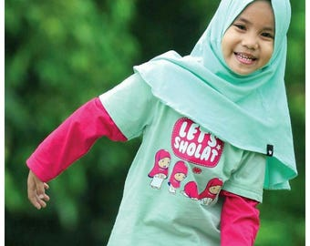 Cotton Daily Hijab for Toddlers & Girls, Ready to Wear Hijab, Pin Free Hijab,