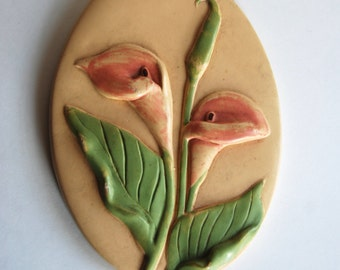 Vintage Chalkware Wall Art, Floral, Lilly, Pastel