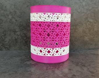 3D Printed Quilt Star Pencil Holder - Pink and White