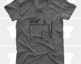 Book, Literary Gift, Women's T Shirt, Coffee T Shirt, Gift for Book Lover, Gift for Teacher, Sunday Morning