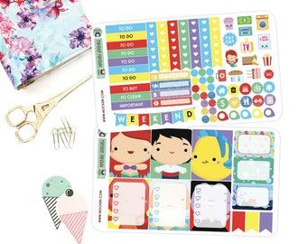 Little Mermaid Mini Planner Sticker Kit + Decorative Stickers / Planner Stickers for use with the Erin Condren LifePlanner(TM)