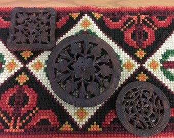 Vintage Hand Carved Trivets, Set of 3, Made in India