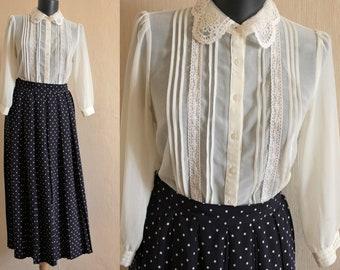 White chiffon lace blouse Petite Romantic top size XS Feminine girl's blouse Ivory Party Occasion top