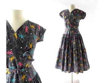 Vintage 50s Dress | Modiste Roi | Novelty Print Dress | 1950s Dress | XS