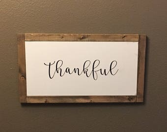 Thankful canvas with wood frame