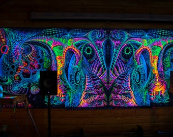 """UV backdrop """"Singularity Microcosma W"""" Multidimensional Blacklight glow Wallhanging psychedelic sacred fractal worlds fluorescent tapestry"""