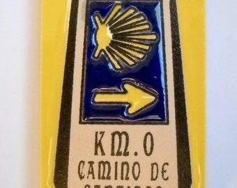 Camino de Santiago Road Marker Mojon Magnet Tile