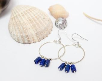 Lapis lazuli and silver hoop earrings