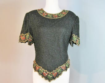 Beaded Top / Vtg 90s / Lawrence Kazar Black Beaded Sequined top for Christmas