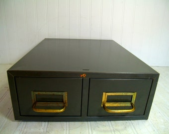 Metal File Cabinet Industrial Green with Two Drawers & Brass Handles Heavy Duty File Cards Organizer Military Steel Chest of 2 Long Drawers
