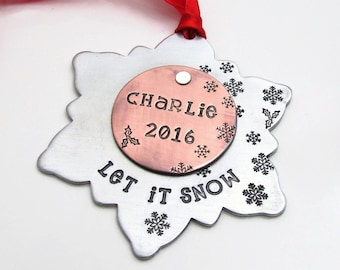Personalized Ornament - Snowflake Ornament - Christmas Tree Ornament - Hand Stamped Ornament - Personalized Christmas Ornament Decoration