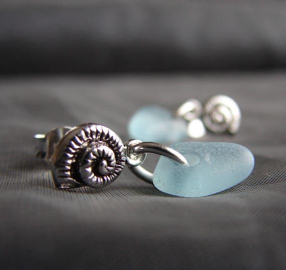 Little Nautilus sea glass earrings in aqua