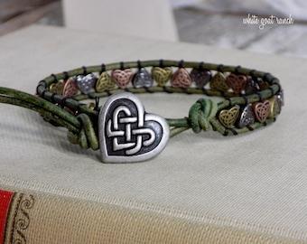 Wrap Bracelet, Celtic Knot, Irish, Celtic Heart, Green Leather, Stocking Stuffer, Metal Hearts