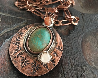 Ready to ship, Rustic Soul necklace, Copper, Sterling Silver, Shell, Sunstone, and Turquoise, ThePurpleLilyDesigns