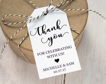 Thank You Tag - Thank you for Celebrating with Us - Thank you tags - Wedding Favor Tags - Wedding Favor Ideas - Personalized Tags - LARGE