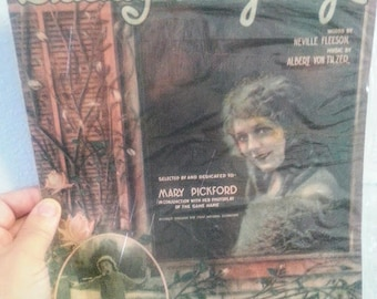 Sheet Music Cover, Vintage Dear Old Daddy Long Legs dedicated to Mary Pickford