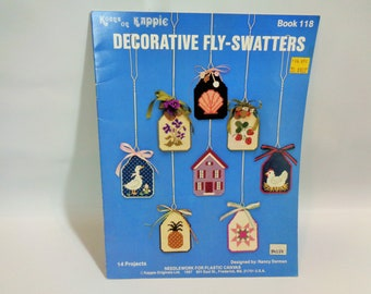Kount on Kappie Decorative Fly Swatters By Nancy Dorman Needlework for PLASTIC CANVAS 1987