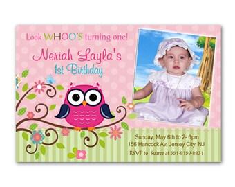 Pink Owl Girl Custom Photo Birthday Invitation - Digital File