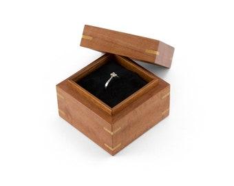Wooden Proposal Ring Box made from Tasmanian Myrtle, Ring-Bearer Box, Wedding Ring Box, Engagement Ring Box