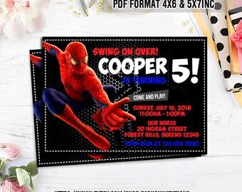Spiderman Birthday Invitation, Superhero Party Card Invite, Marvel Super Hero Printable, Spider Digital Invitations, Custom Printables.