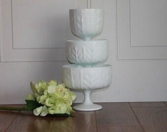 White Milk Glass, Vintage Milk Glass Compote , Pedestal Milk Glass Vase, Vintage Wedding Decor, Milk Glass Vase, Milk Glass Centerpiece