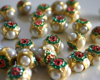 SALE White Meena cap beads - Meenakari beads (2) 14mm