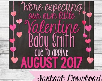 Valentine's Day Pregnancy Announcement Sign {Instant Download}