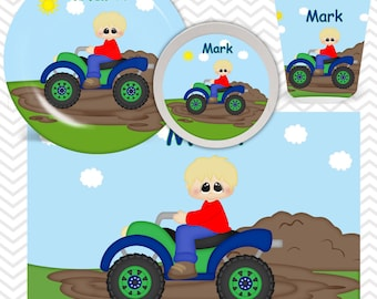 ATV 4-Wheeler Boy Truck Plate, Bowl, Cup, Placemat - Personalized ATV Truck Dinnerware for Kids - Custom Tableware