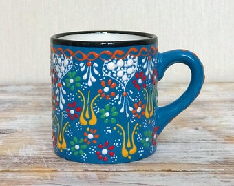 Blue cup, teacup, mug, drinkware pottery, colorful pottery, pottery cup, gift pottery, coffee mug, handmade cup, tumbler, handpainted cup
