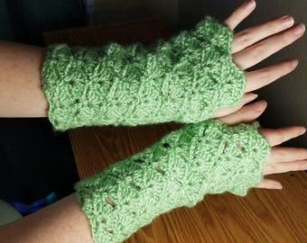 Crochet Fingerless Gloves, Green, Handmade, Adult Large size