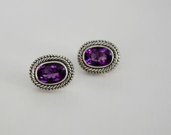Gorgeous Handcrafted Sterling Silver with Genuine Amethyst Earrings.