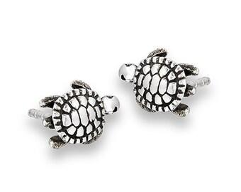 Stud Earrings, Sterling Silver Sea Turtle Stud Earrings, Sea Turtle Jewelry, Sea Inspired Jewelry