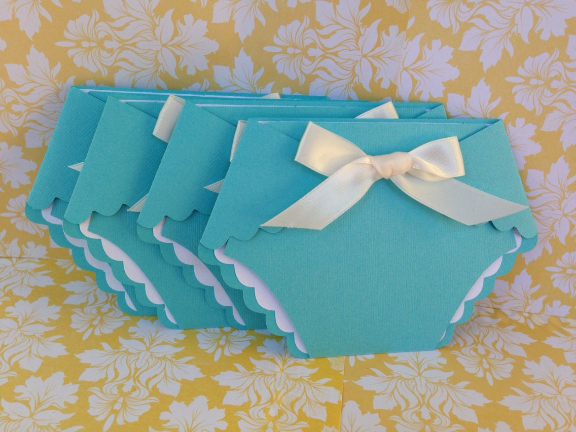 Baby Shower Turquoise Blue Diaper Invitations 25 TC inspired
