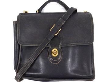 Vintage Coach Black Leather Willis Shoulder Bag #9927