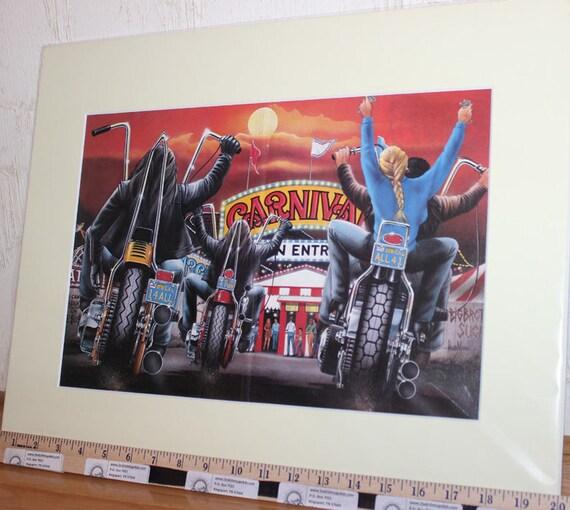 David Mann ''Carnival'' 16'' x 20'' Matted Motorcycle Biker Art #8709ezrxmc
