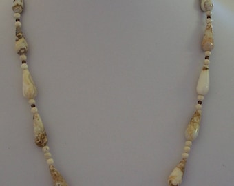 Off-white and Brown Picasso Jasper Teardrop and Round Bead Necklace by Carol Wilson of Je t'adorn