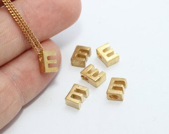 5 Pcs Tiny Letter , Raw Brass 6x7mm , initial necklace,  ,Alphabet Bead, Letter Necklace , LETTER-mini