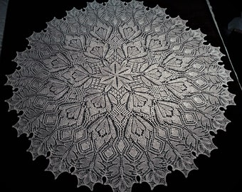 Hand Knitted Lace Shawl in Soft Pure Shetland Wool. MADE TO ORDER