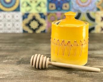Honey pot: Porcelain honey pot mango glazed with red stamped pattern petite honey pot ceramic honey jar wooden honey dipper yellow honey pot