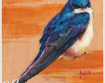 Print or Note Card: Tree Swallow on Wood